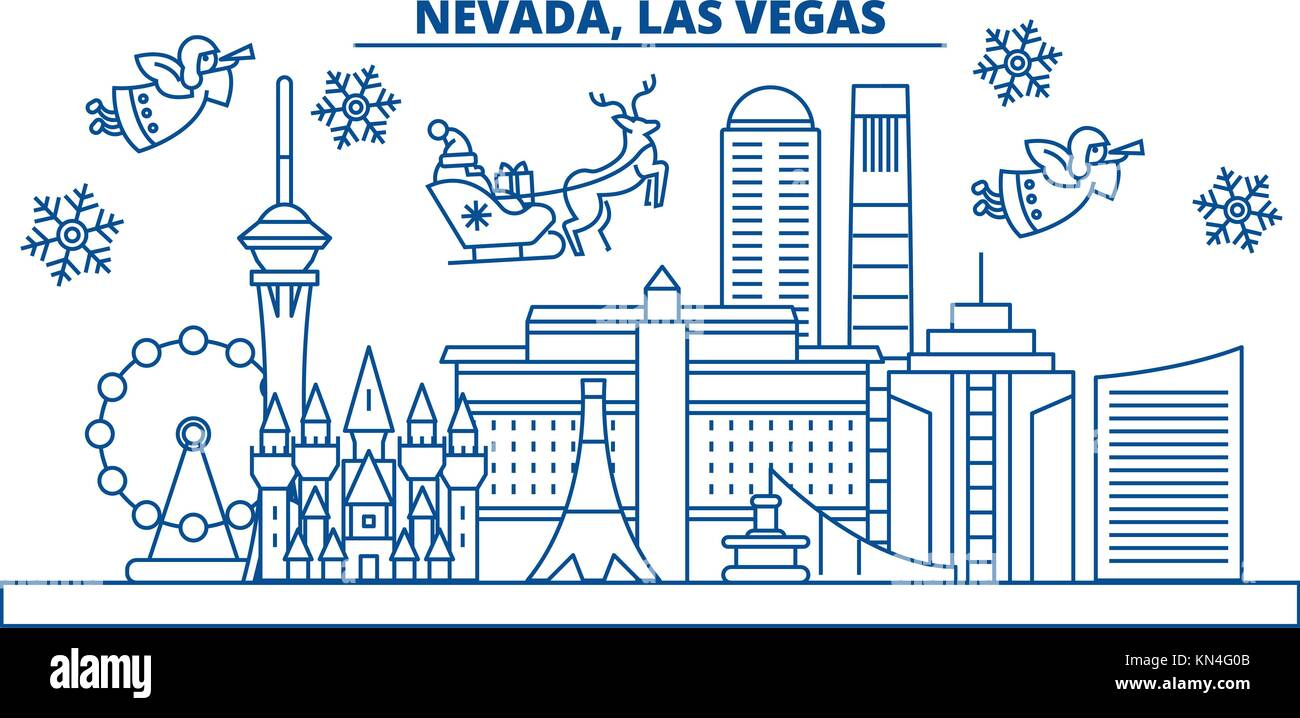 usa nevada las vegas winter city skyline merry christmas and happy new year decorated banner winter greeting card with snow and santa claus