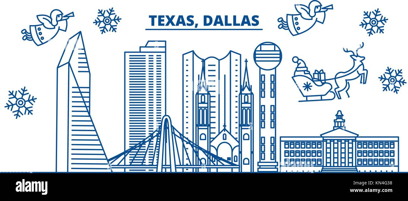 usa texas dallas winter city skyline merry christmas and happy new year decorated banner winter greeting card with snow and santa claus