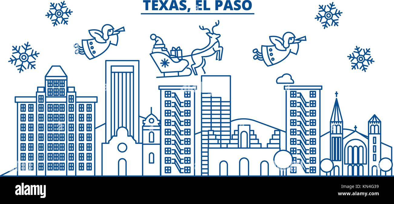 usa texas el paso winter city skyline merry christmas and happy new year decorated banner winter greeting card with snow and santa claus