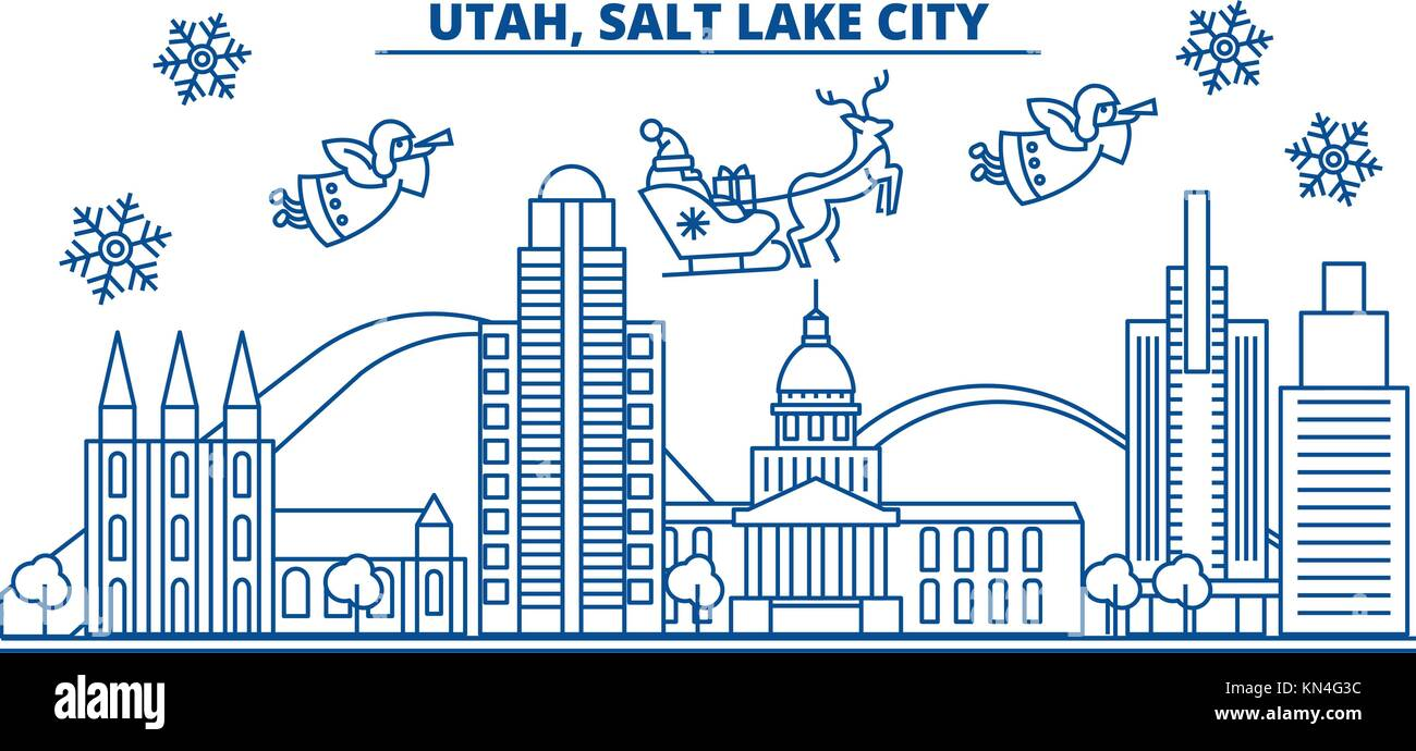 Usa utah salt lake city winter city skyline merry christmas and usa utah salt lake city winter city skyline merry christmas and happy new year decorated banner winter greeting card with snow and santa claus kristyandbryce Image collections