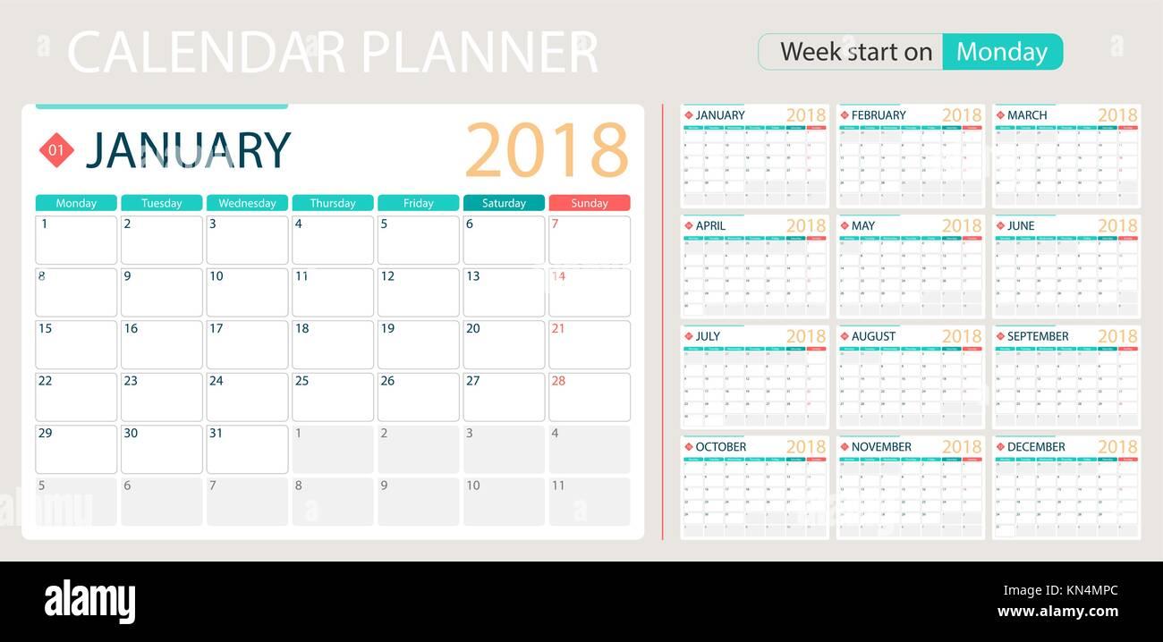English calendar planner for year 2018, week start Monday. Set of ...