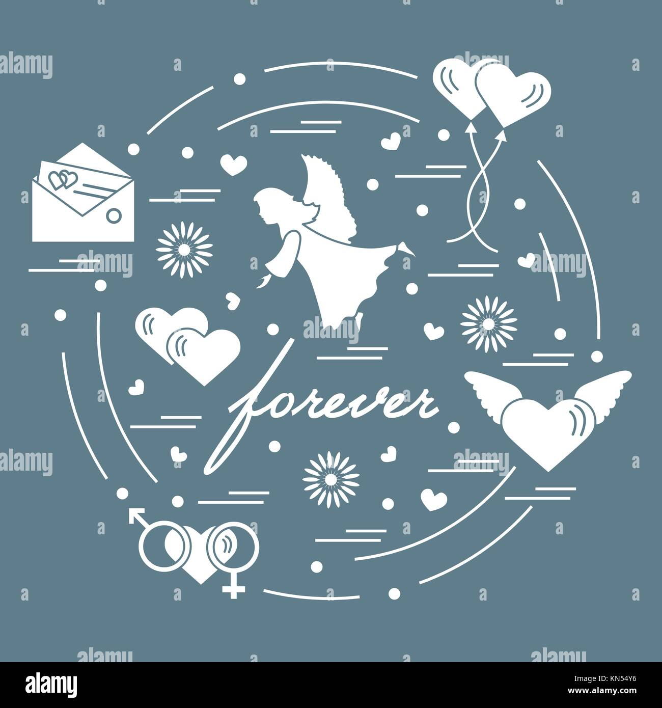 Cute vector illustration with different love symbols hearts air cute vector illustration with different love symbols hearts air balloons postal envelope angel and other arranged in a circle romantic collection buycottarizona Images