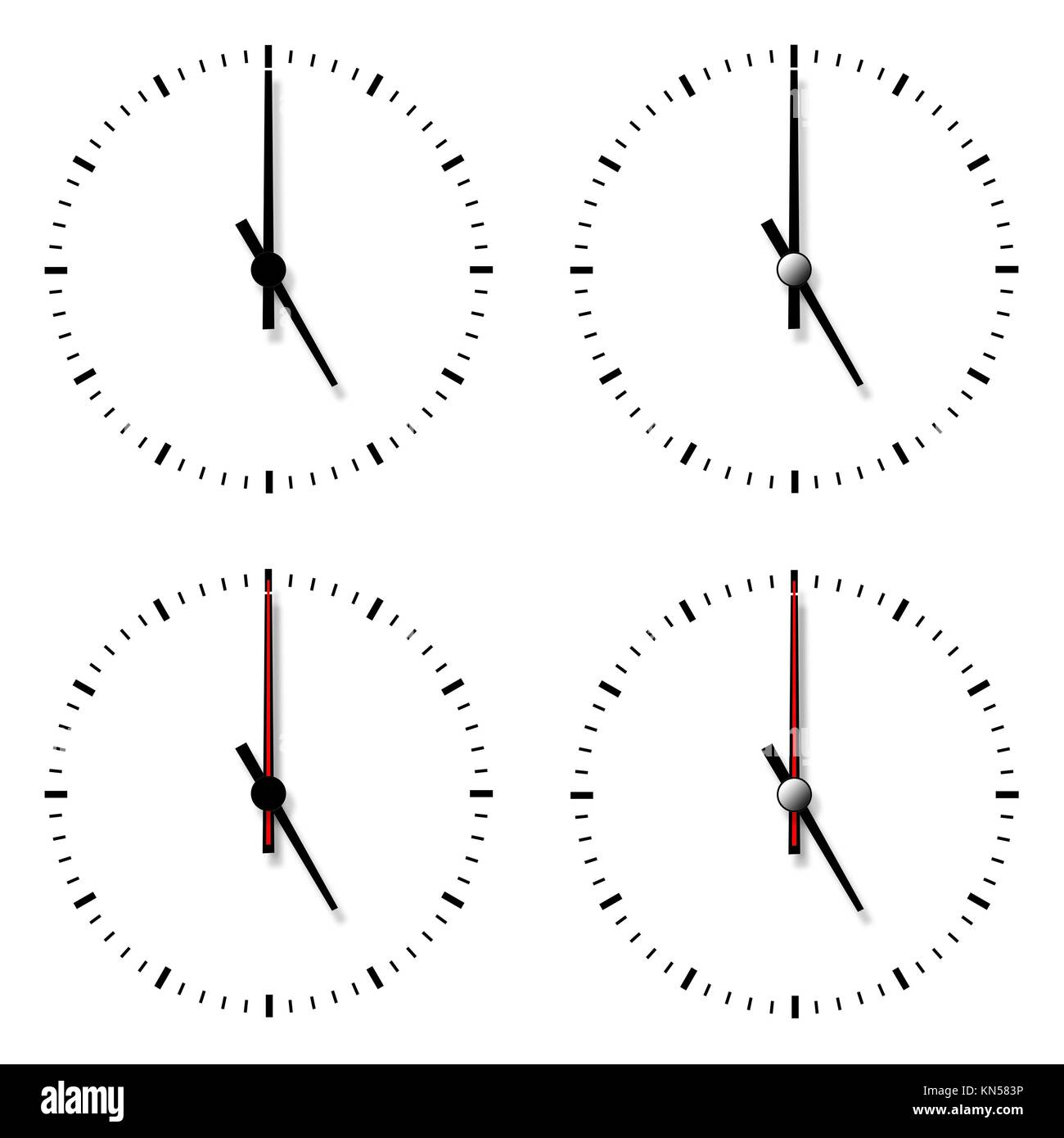 Set Of Clocks Without Numbers Isolated On White Background Stock