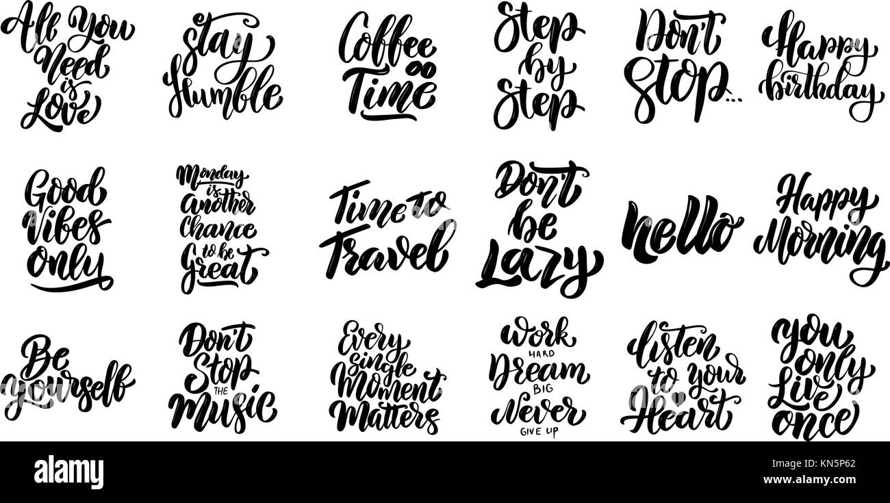 Inspirational Slogans Inspirational Quotes Black And White Stock Photos & Images  Alamy