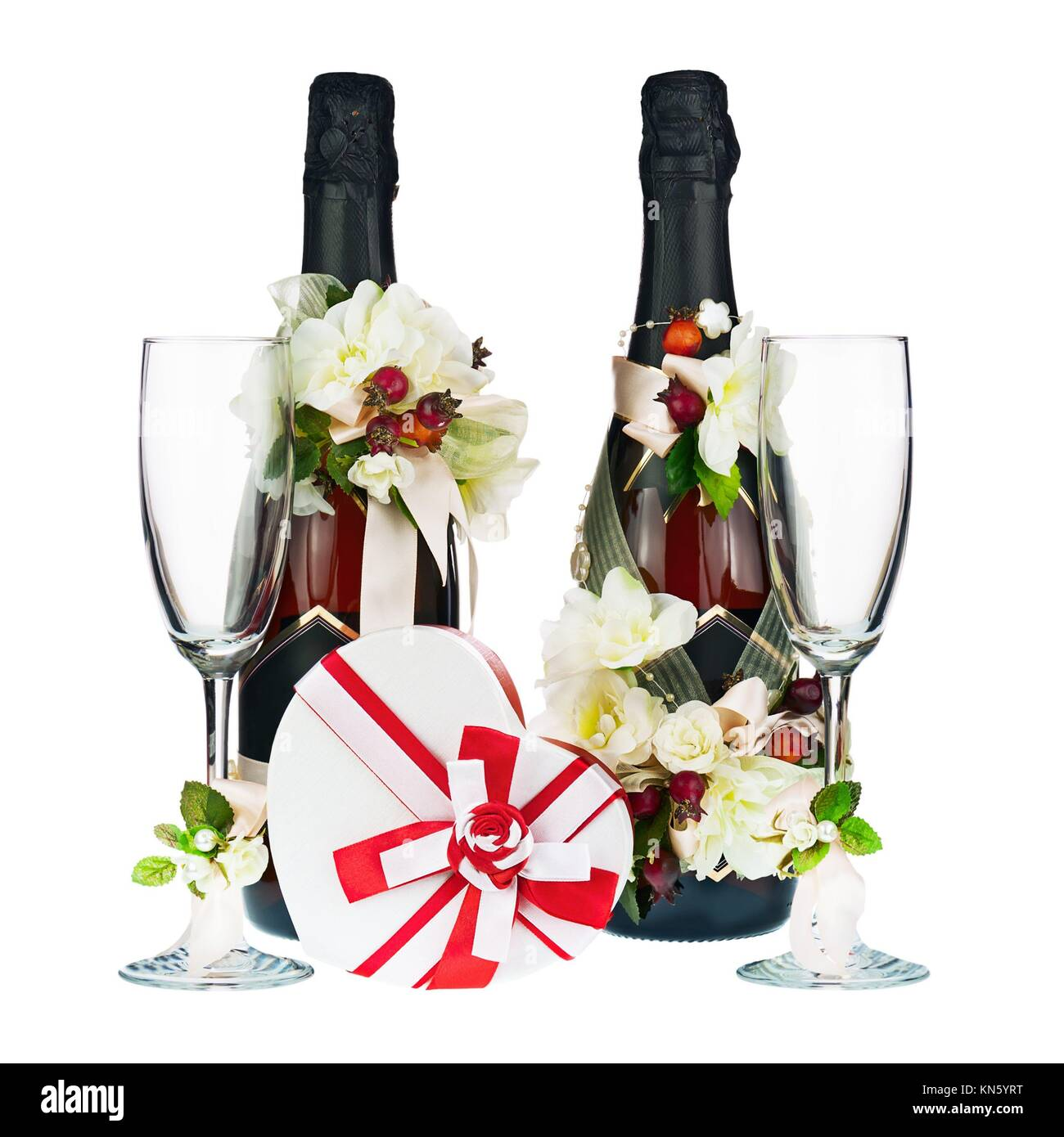 Champagne Bottle And Glass With Wedding Decoration Of Flower Stock
