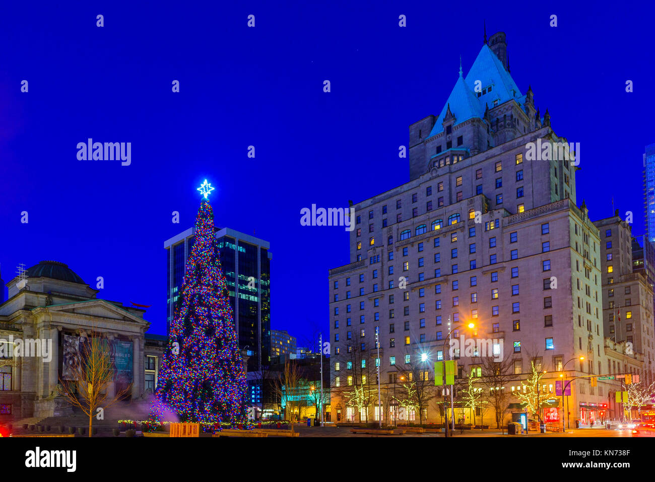 Official Vancouver Christmas Tree, Vancouver Art Gallery Plaza. Downtown,  Vancouver, British Columbia, Canada