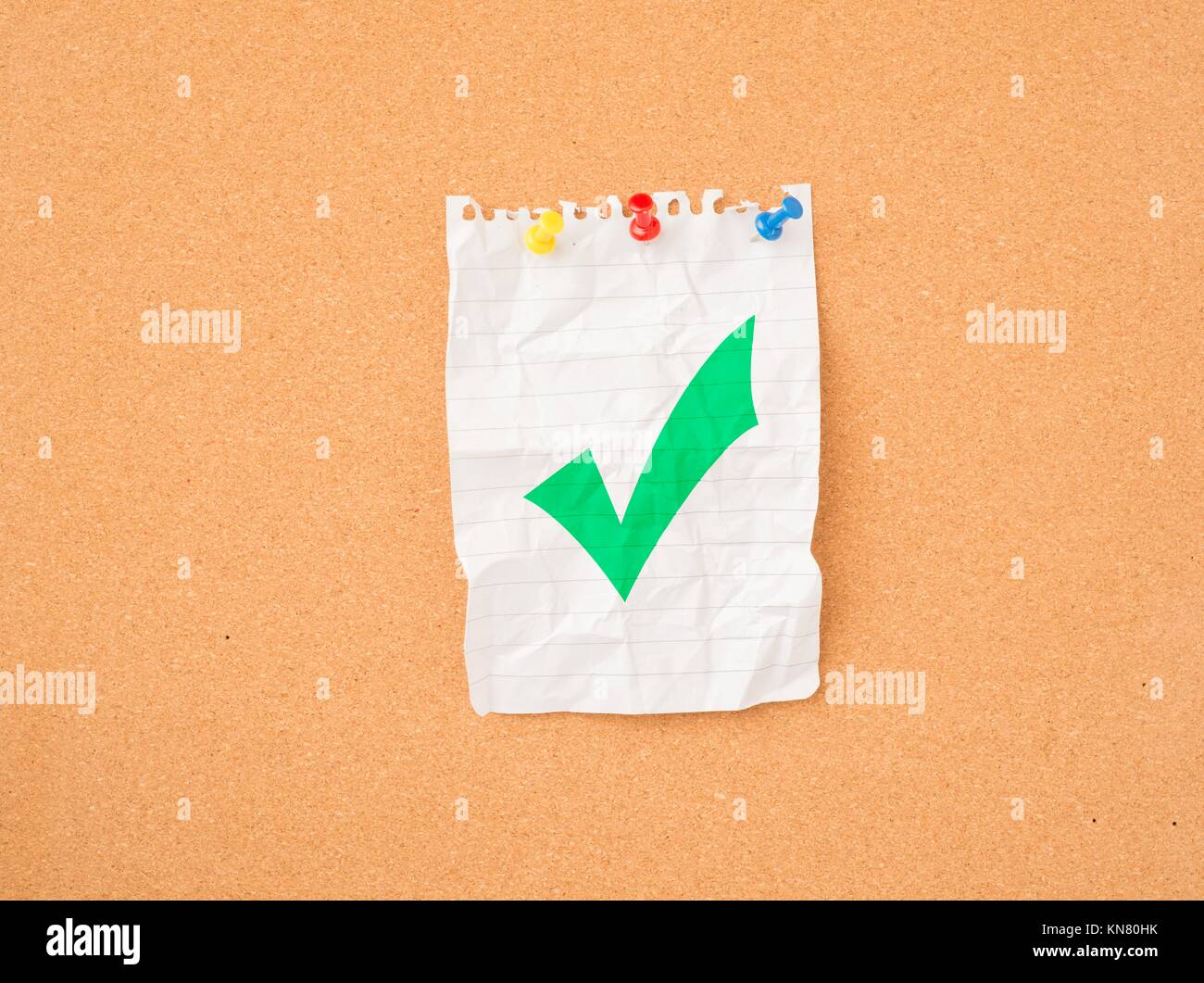 Check Mark Symbol On Paper Pinned To Message Board Concept Of Stock