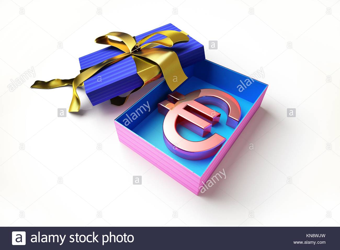 Opened Gift Box With Golden Ribbon With The Euro Symbol Inside On