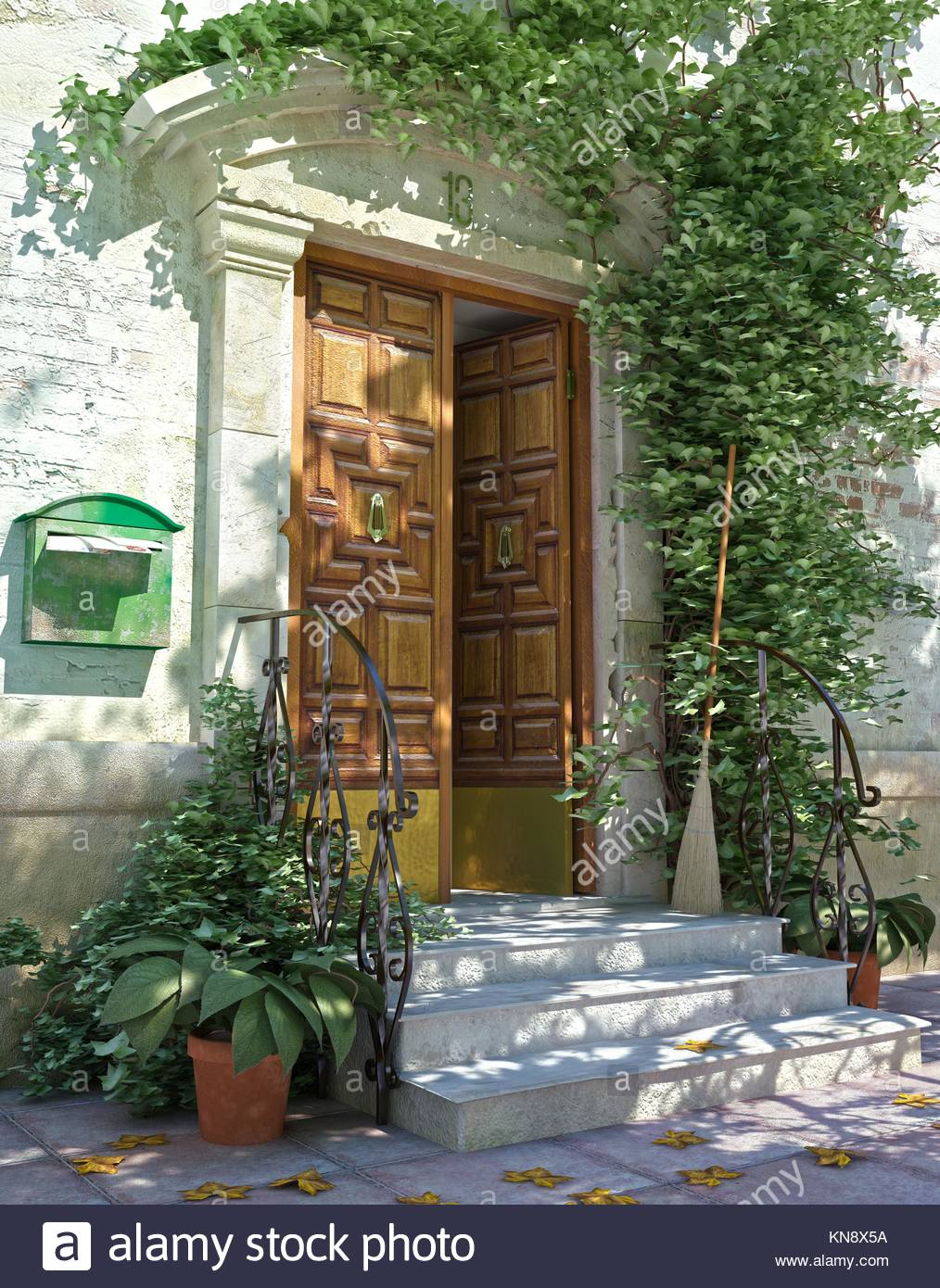 Stone entrance stairs and doorway stock photos stone for Classic house plants