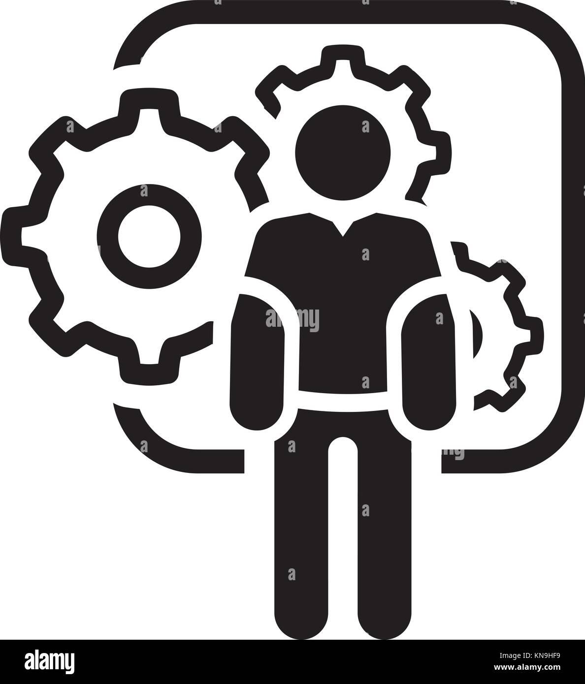 Mechanical Engineering Icon Man And Gears Development Symbol Stock