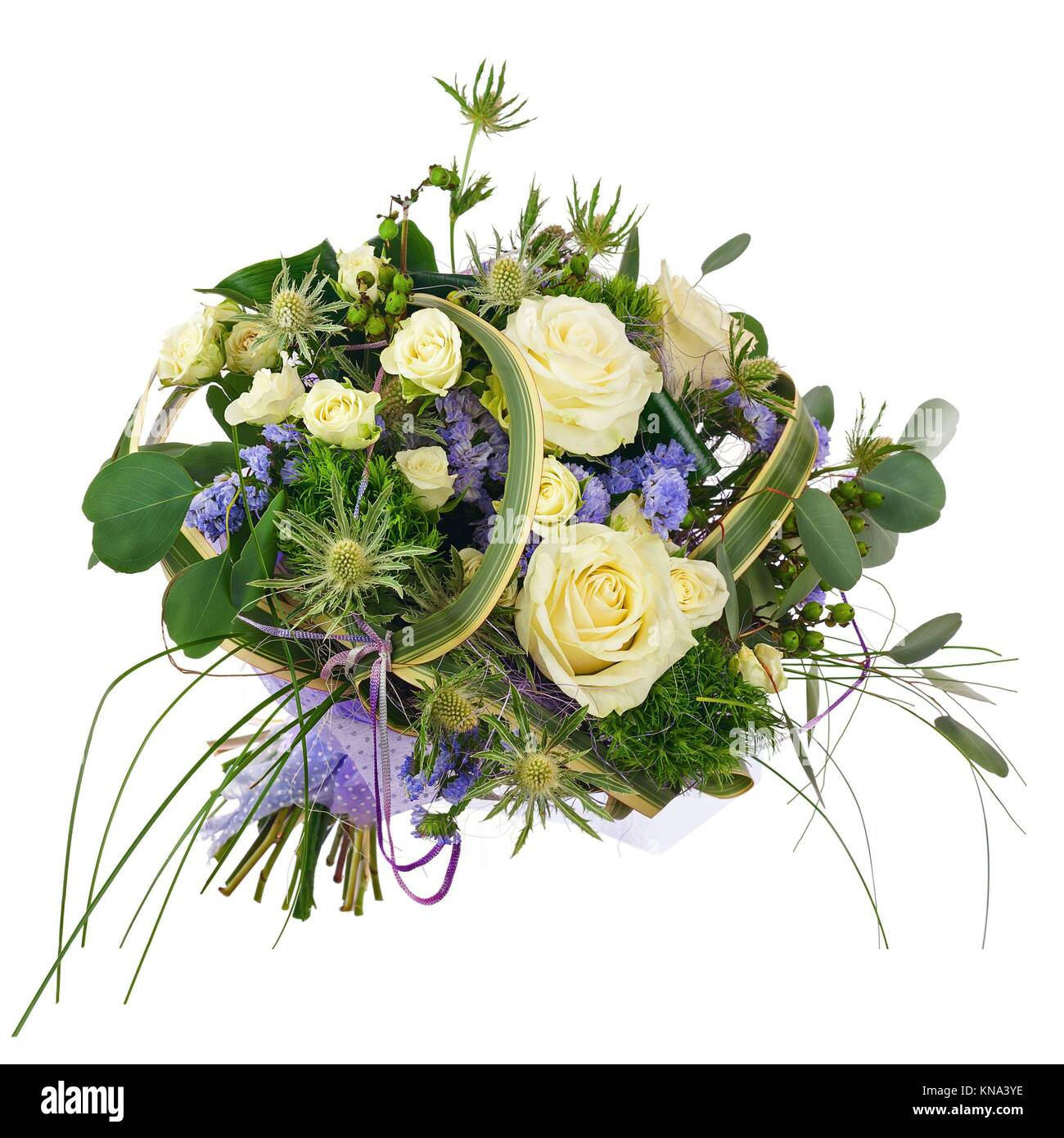 Flower bouquet from roses, green carnation and statice flowers Stock ...