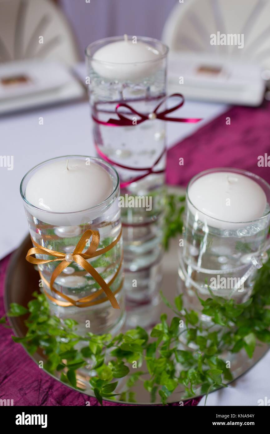 Candles Are Used For Decor At This Wedding Reception That Features