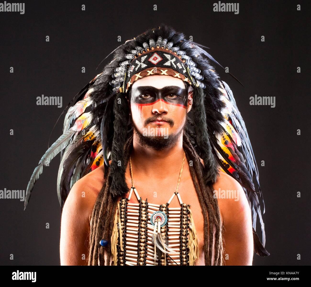 Native American Indian Chief Headdress Stock Photos