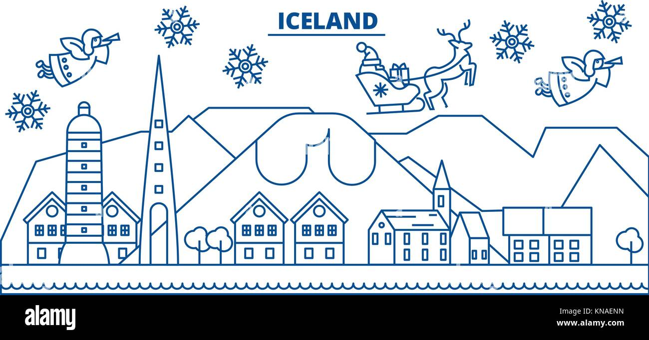 Iceland winter city skyline. Merry Christmas, Happy New Year Stock ...