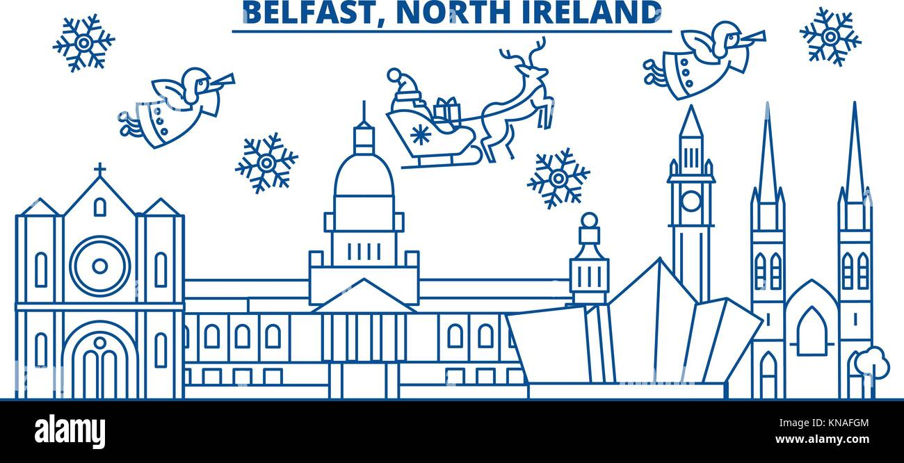 North Ireland, Belfast winter city skyline. Merry Christmas, Happy ...