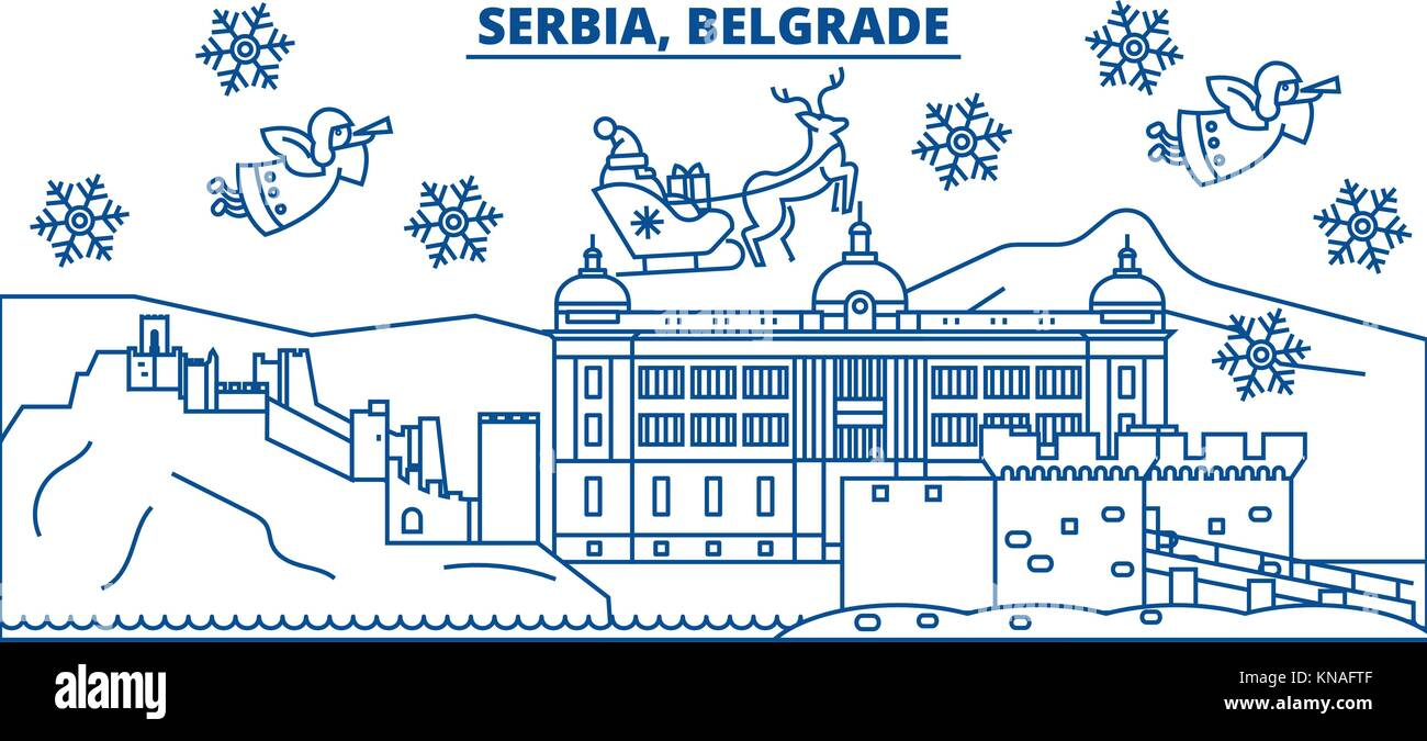 Serbia christmas eve stock photos serbia christmas eve stock serbia belgrade winter city skyline merry christmas happy new year decorated banner with kristyandbryce Images