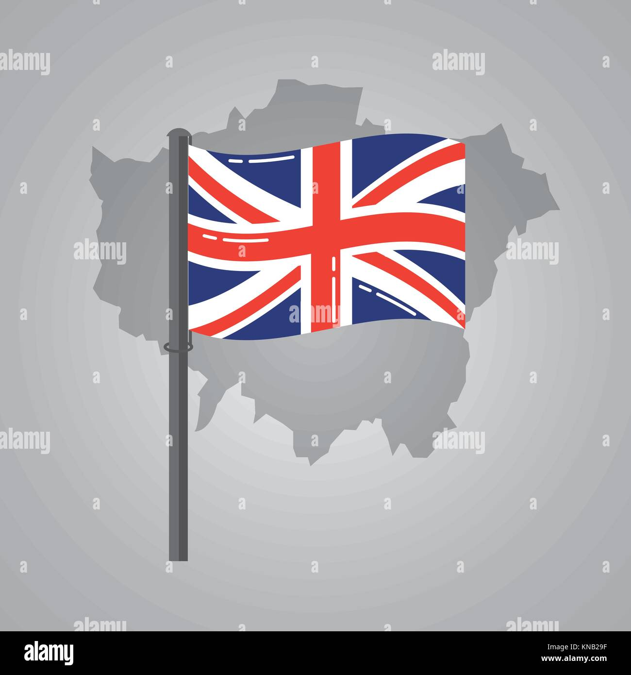 london map and great britain flag on a silver metallic pole Stock ...