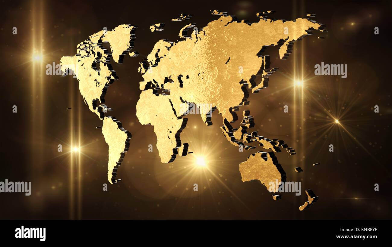 World Map In Space 3d Render Stock Photo 168054307 Alamy