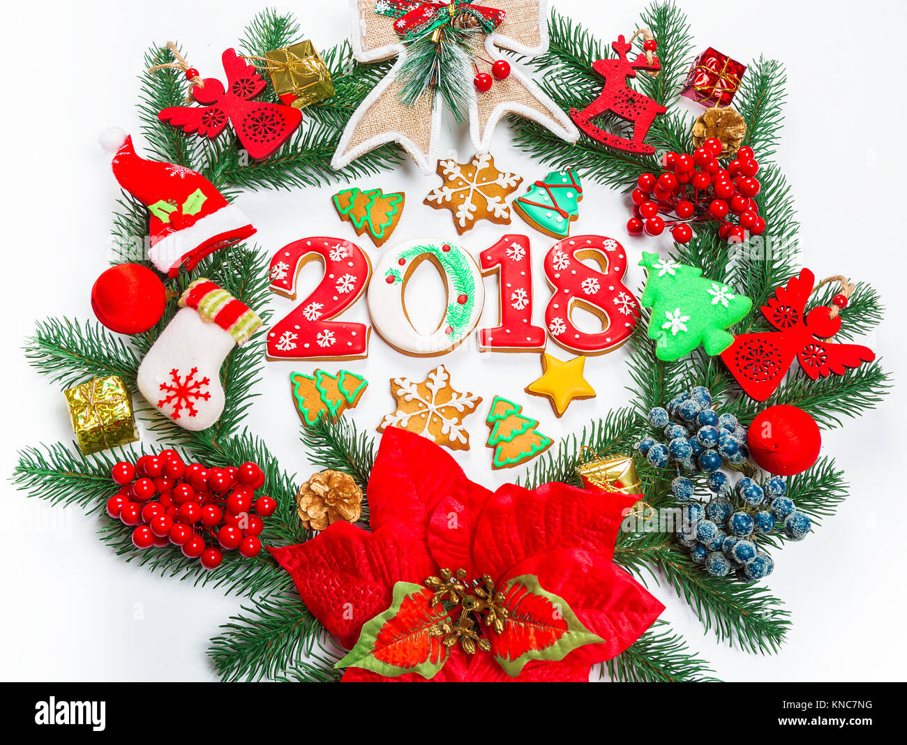 Advent holiday gingerbread wreath stock photos advent holiday christmas wreath with decorations with gingerbread 2018 branch of xmas tree on white background buycottarizona Image collections