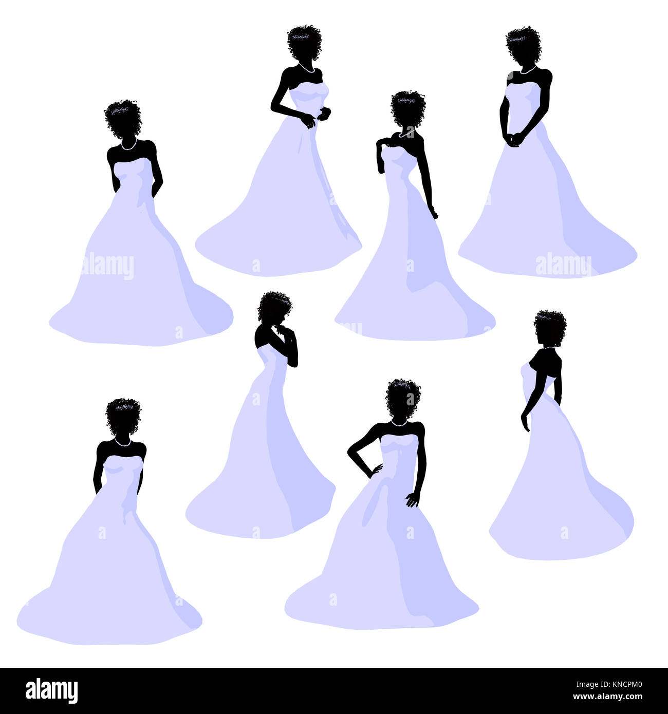 African american woman in a wedding dress silhouette illustration on ...