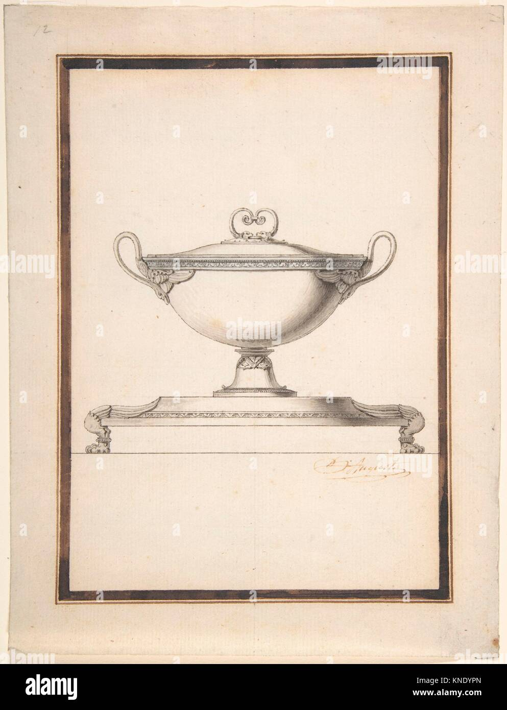Design For A Covered Tureen On A Footed Stand Artist Henri Auguste - Paris port au prince