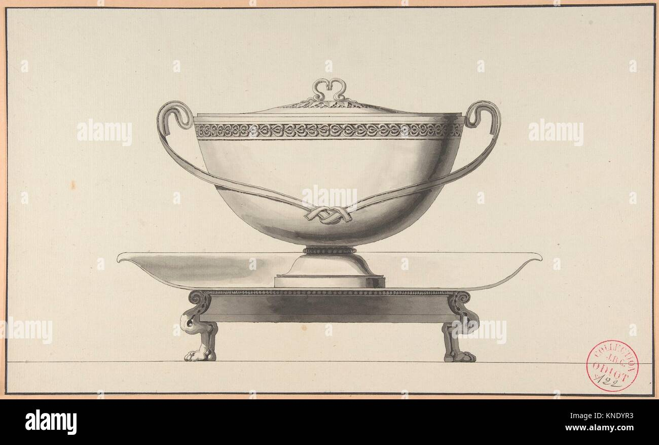 Design For A Covered Bowl With Stand Artist Henri Auguste French - Paris port au prince
