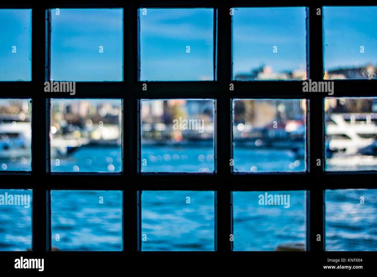 seascape through metal window frames - Metal Window Frames