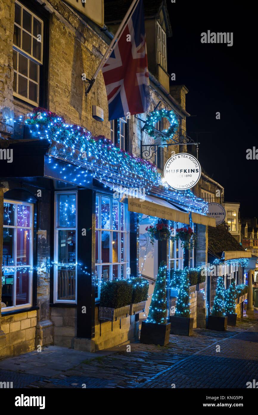 Christmas Lights And Decorations On Huffkins Tea Room At Night Stock