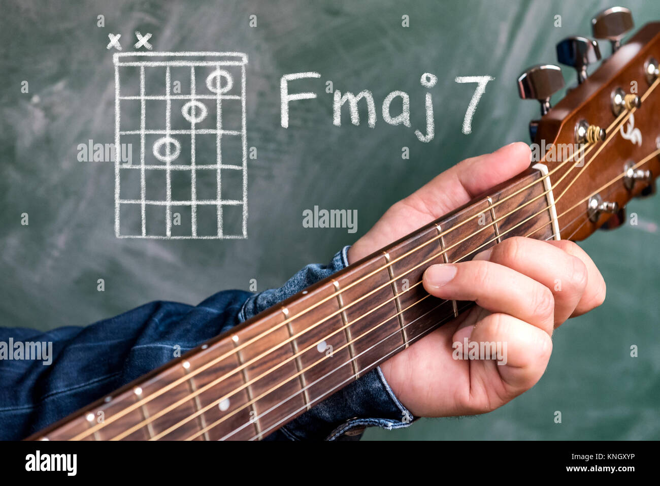 Man In A Blue Denim Shirt Playing Guitar Chords Displayed On A Stock
