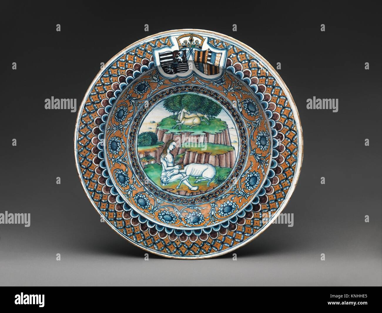 Probably ca stock photos probably ca stock images alamy bowl with the virgin and the unicorn and arms of matthias corvinus and beatrice of aragon biocorpaavc