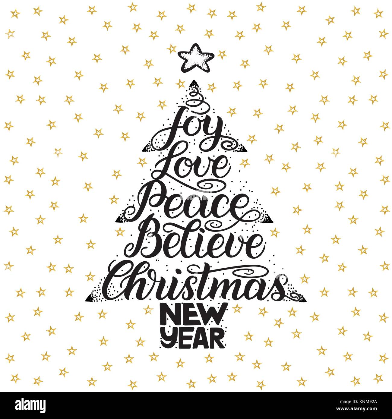 joy love peace believe christmas new year handwriting lettering for greeting card invitation print poster typography holiday message merry x