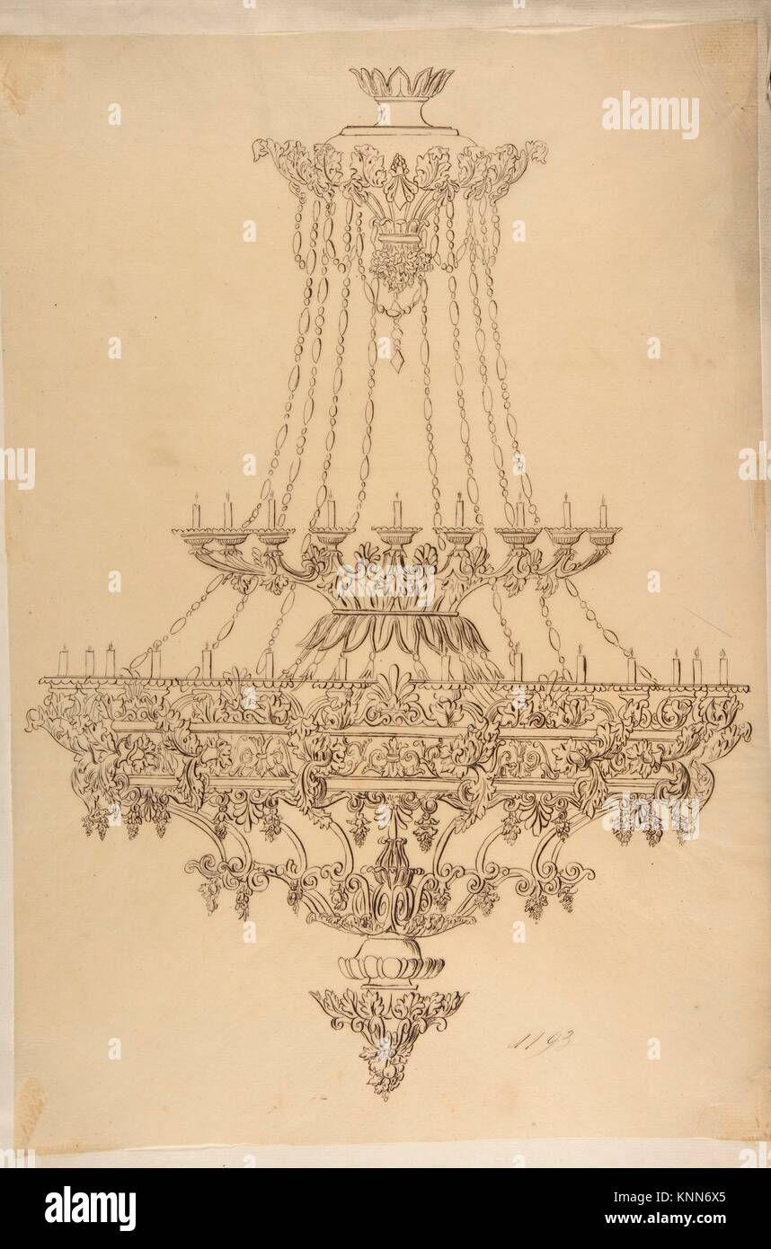 Design for a chandelier with acanthus leaf grape and palmette design for a chandelier with acanthus leaf grape and palmette motifs artist anonymous french 19th century date 19th century medium pen and aloadofball Choice Image