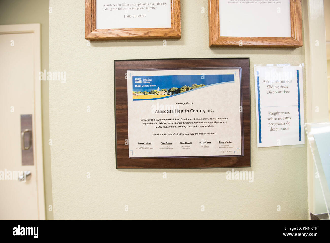 A U.S. Department Of Agriculture (USDA) Rural Development (RD) Plaque  Recognizes The Atascosa Health Center, Inc., For Securing A $1,450,000, ...