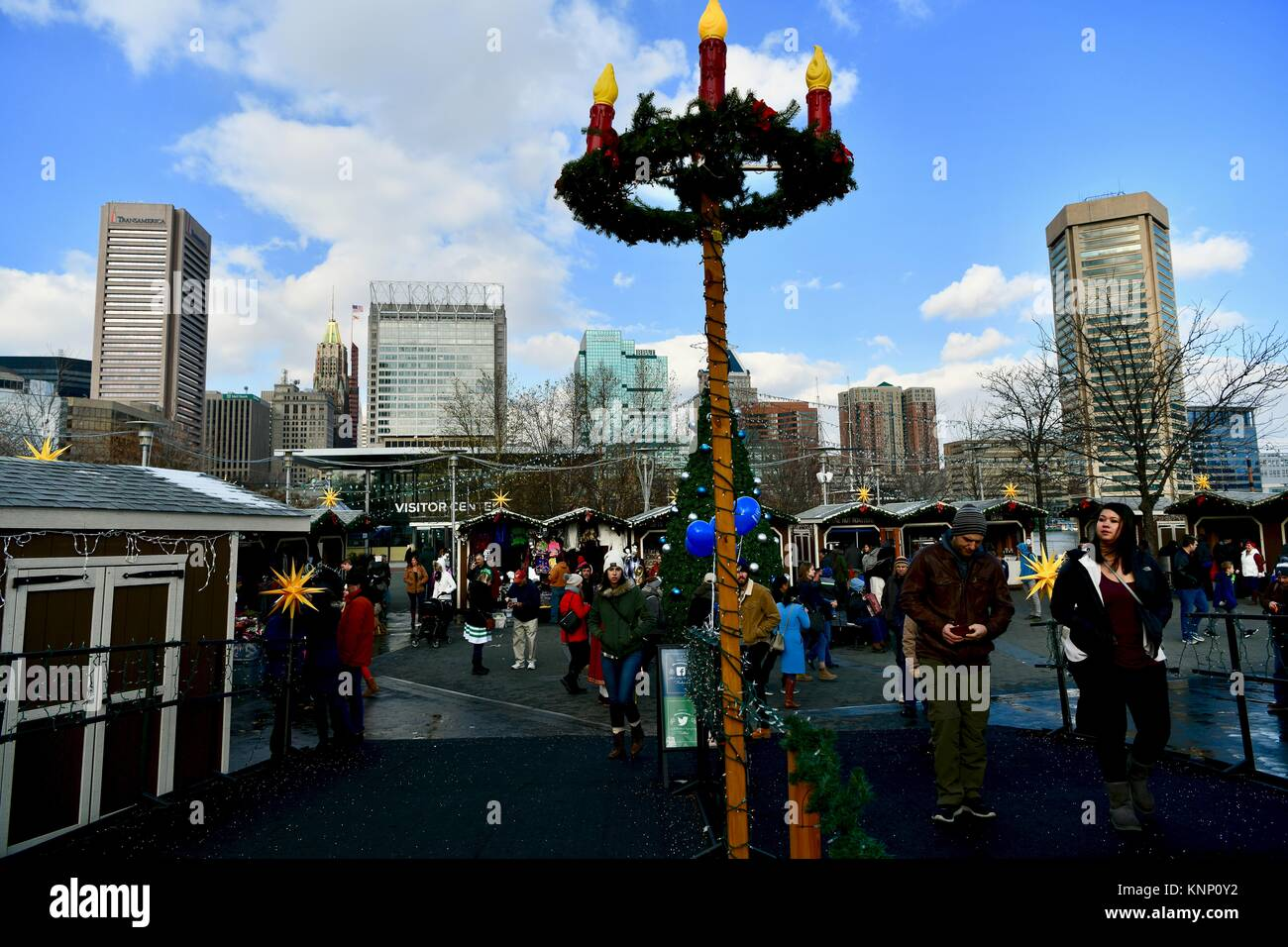 german inspired christmas village in baltimore md usa stock photo