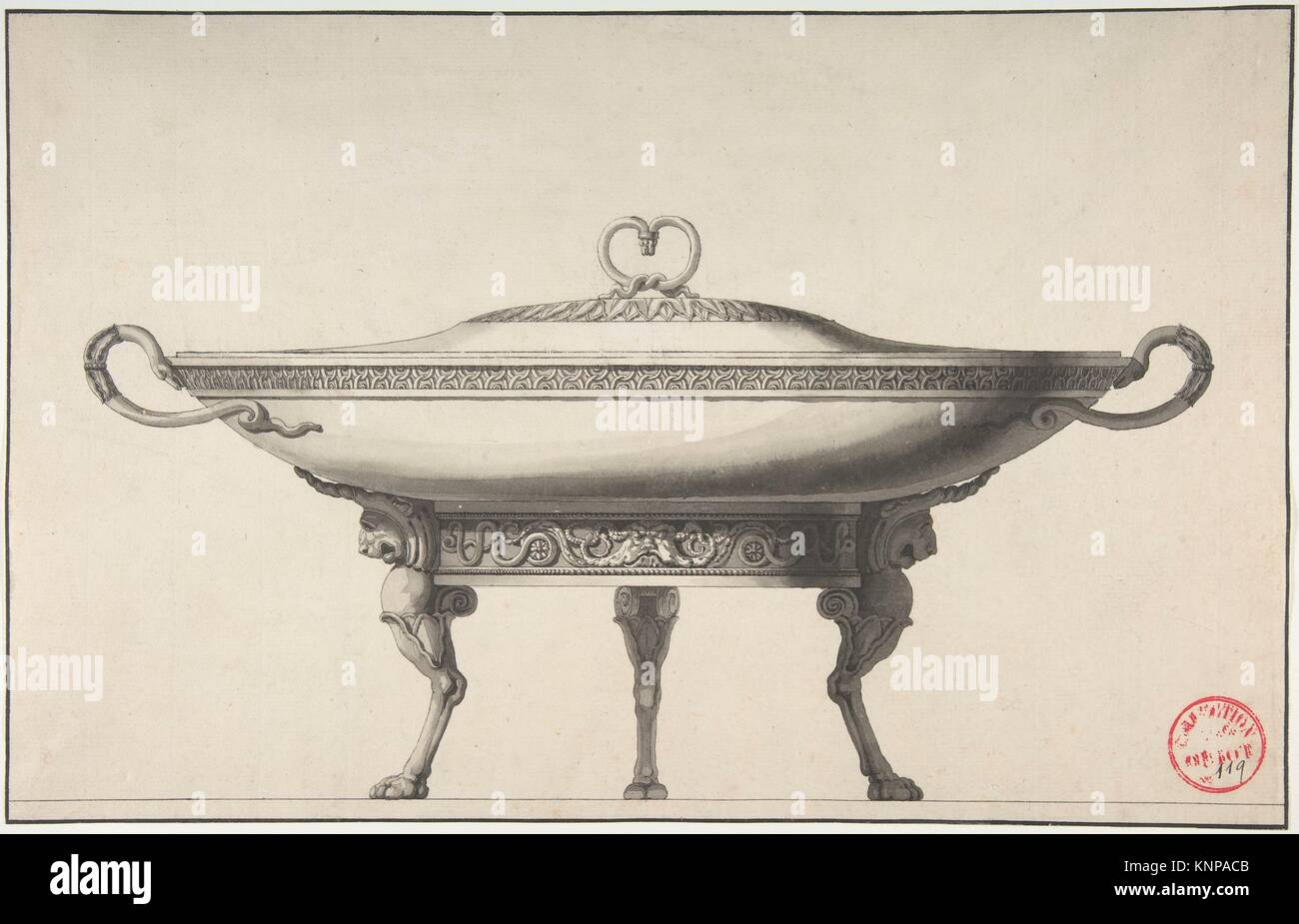 Design For A Covered Footed Serving Dish Artist Circle Of Henri - Paris port au prince