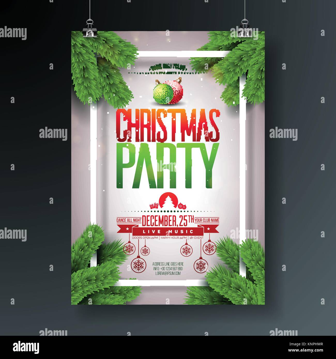 Christmas Party Flyer Ideas Part - 42: Vector Christmas Party Flyer Design With Holiday Typography Elements And  Ornamental Ball, Pine Branch On Shiny Light Background.