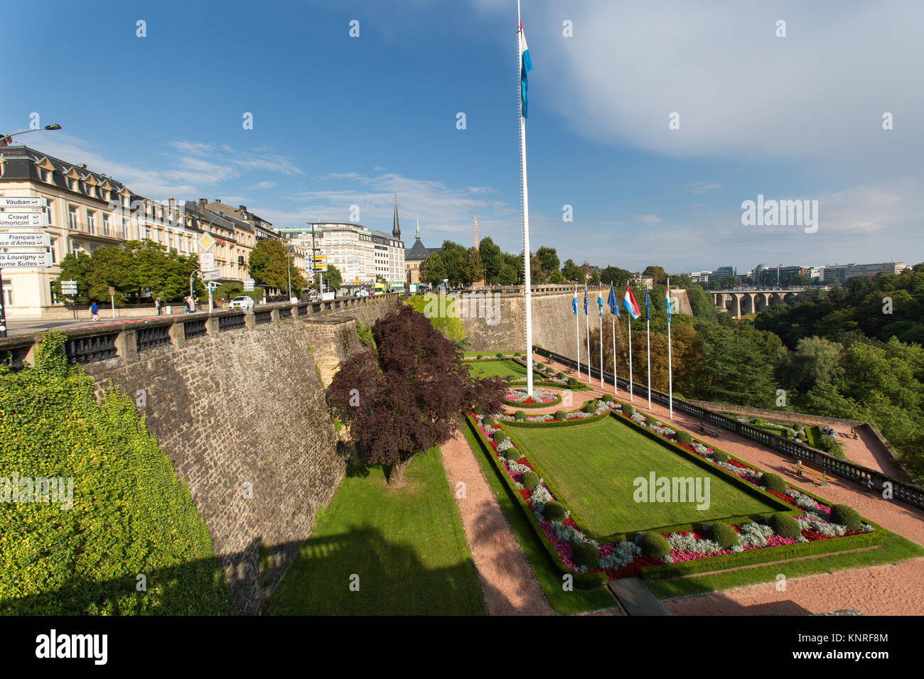 Luxemburg City, Luxemburg. Picturesque view of the gardens at Stock ...