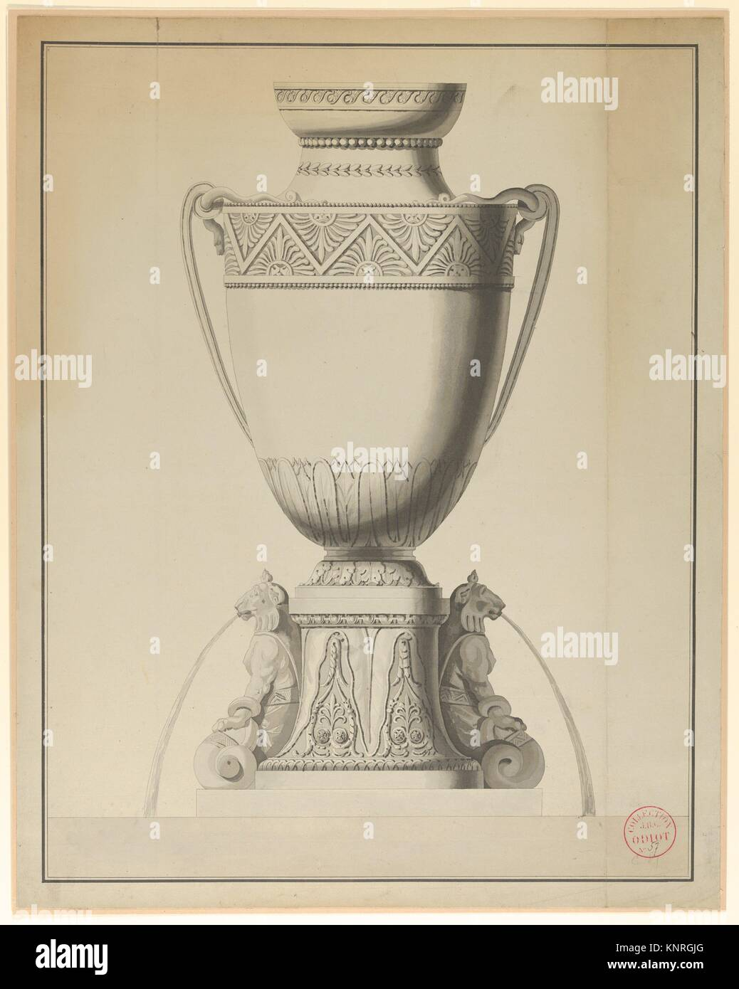 Design For A Wine Fountain Artist Henri Auguste French Paris - Paris port au prince