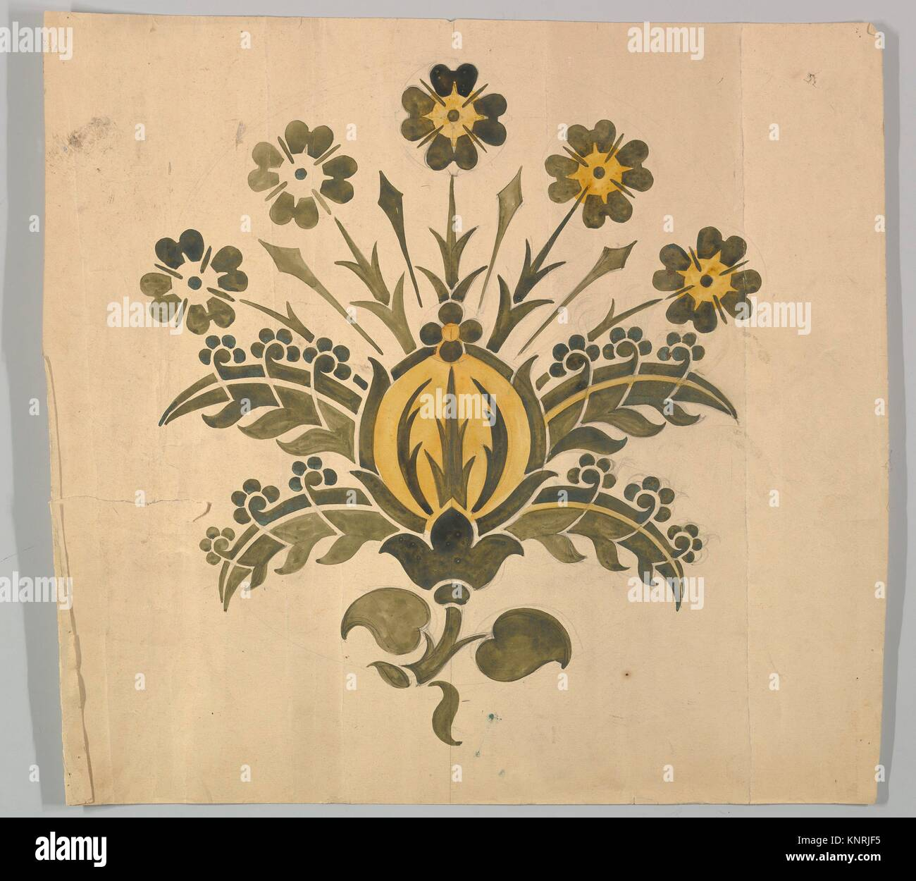 Green and Yellow Stylized Flower for Wall Stencil. Artist: Ernest ...