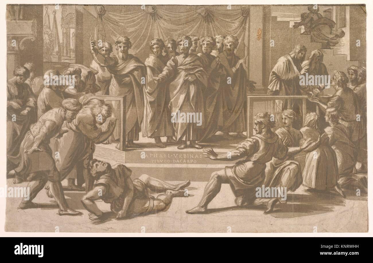 Death of Ananias. Artist: Ugo da Carpi (Italian, Carpi ca. 1480-1532  Bologna); Artist: After Raphael (Raffaello Sanzio or Santi) (Italian, Urbino