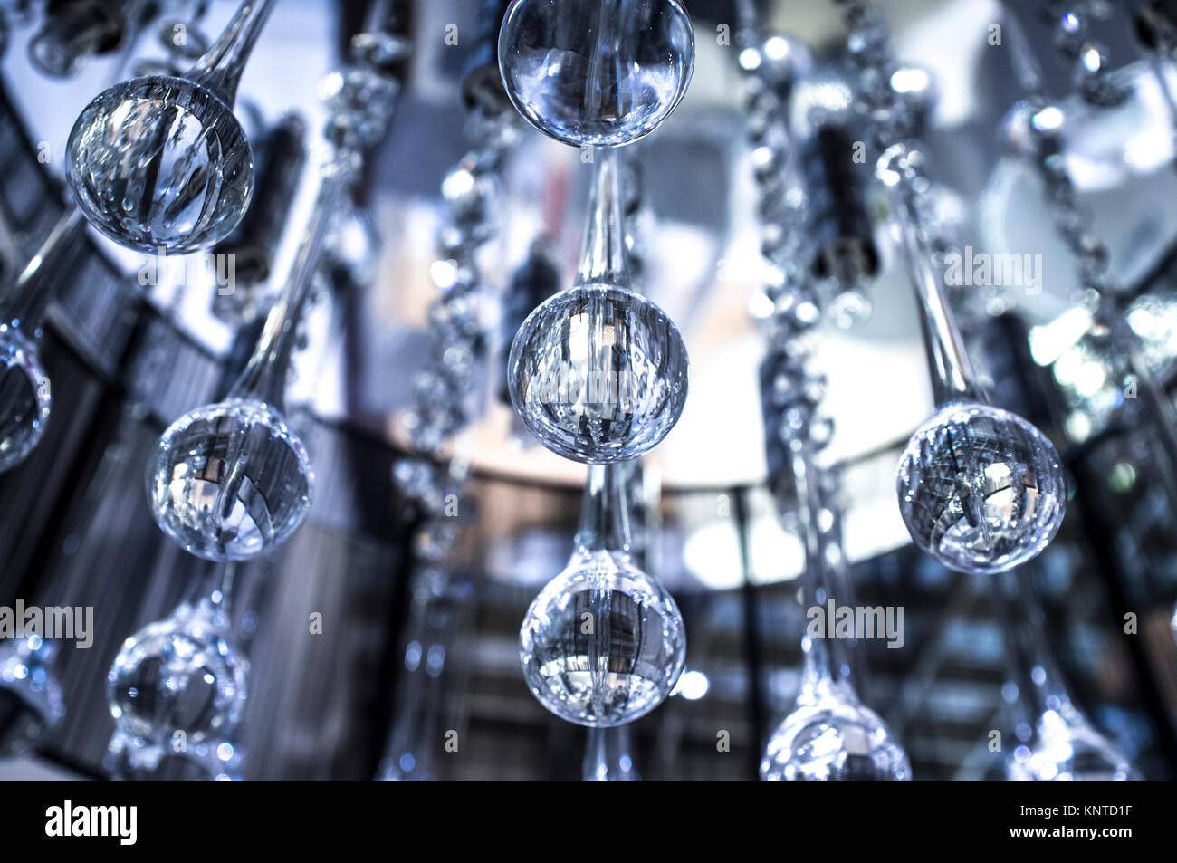 Crystal modern chandelier with hanging glass drops selective crystal modern chandelier with hanging glass drops selective focus arubaitofo Gallery