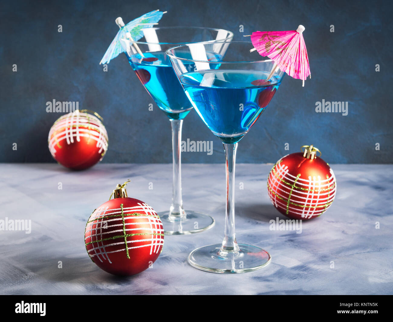 Blue martini cherry stock photos blue martini cherry for Christmas in a glass cocktail