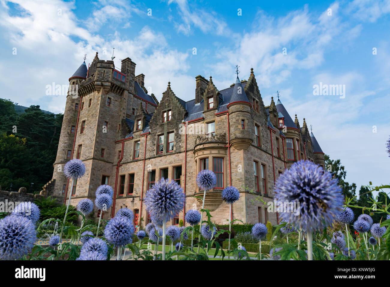 Dreamy belfast castle on beautiful flowers in garden perspective one dreamy belfast castle on beautiful flowers in garden perspective one izmirmasajfo