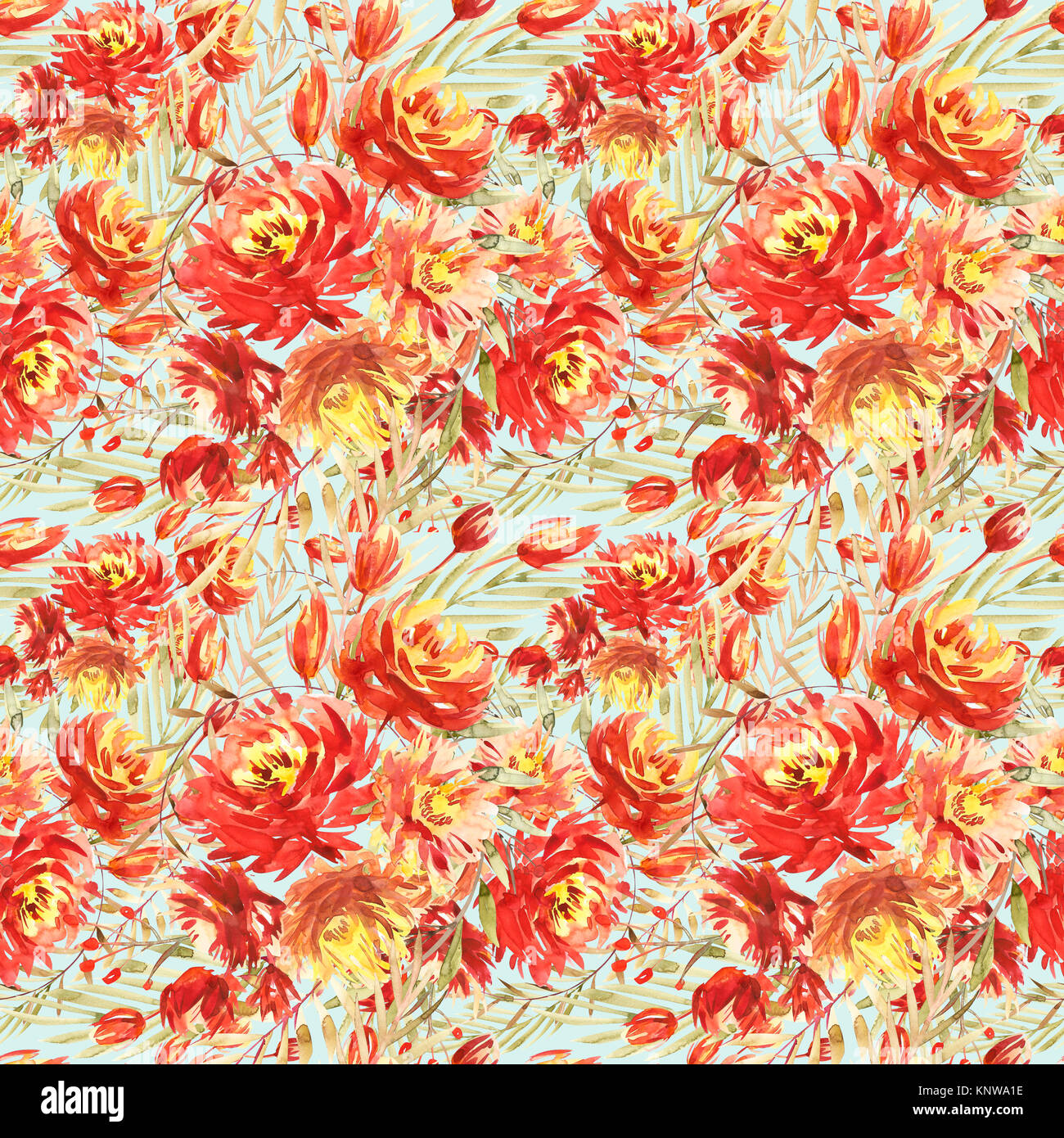 seamless pattern with large watercolor flowers by red peonies stock