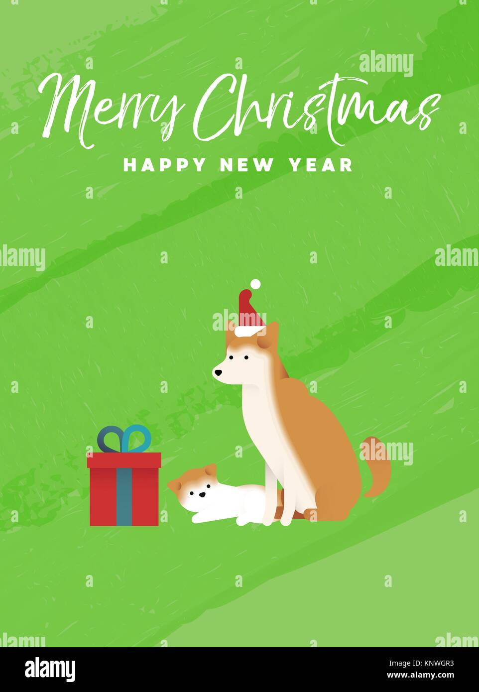 Merry christmas and happy new year holiday greeting card stock merry christmas and happy new year holiday greeting card illustration shiba inu dog and puppy on colorful texture background eps10 vector m4hsunfo