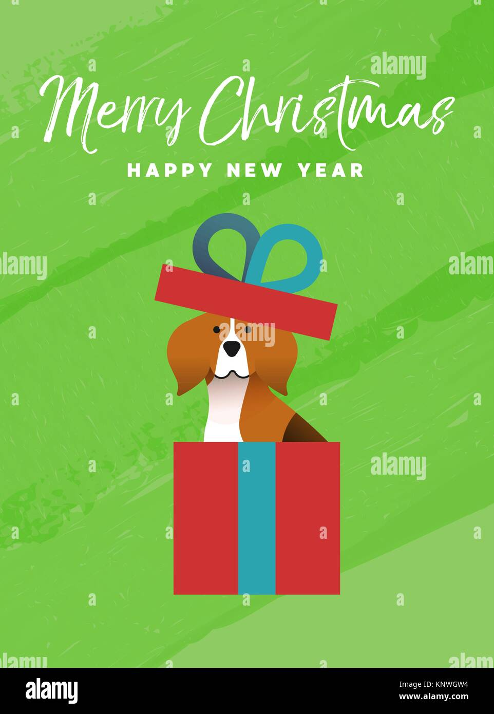Merry christmas and happy new year holiday greeting card stock merry christmas and happy new year holiday greeting card illustration funny beagle dog inside xmas gift box on colorful texture background eps10 vec m4hsunfo