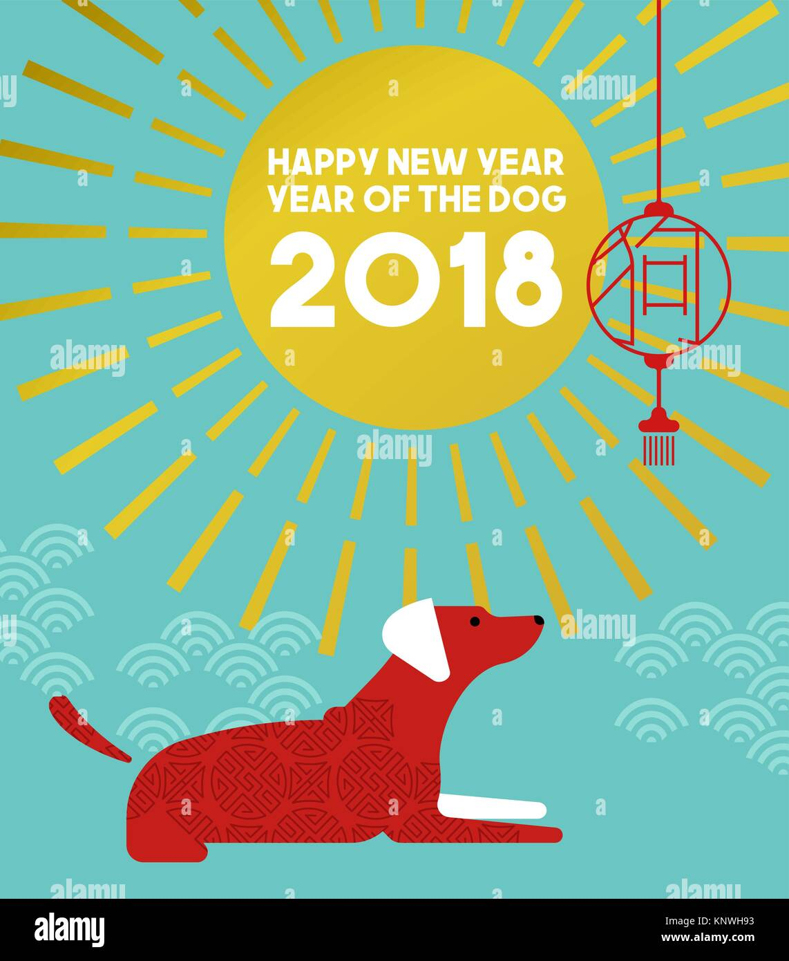chinese new year of the dog 2018 illustration in modern flat art style with traditional asian ornaments and decoration eps10 vector