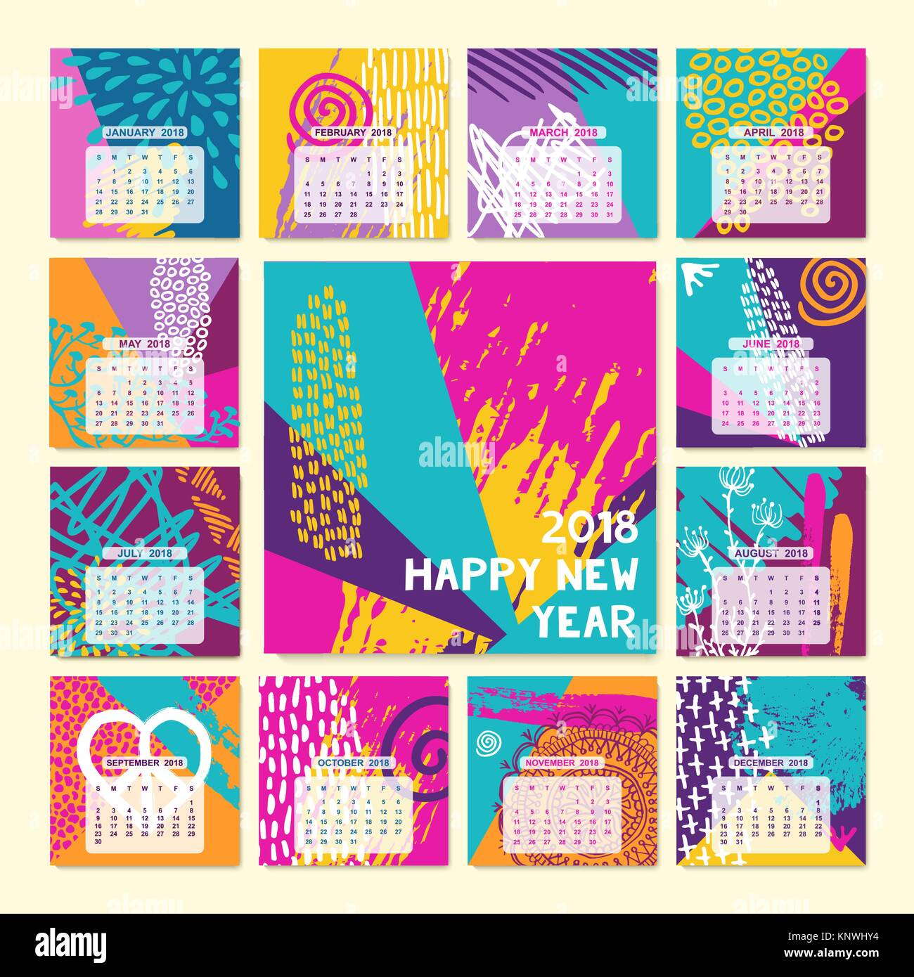 2018 new year calendar template set of monthly planner designs with colorful hand drawn illustration modern boho style art eps10 vector