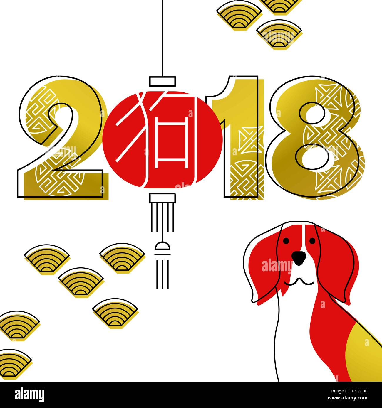 chinese new year 2018 modern line art greeting card with beagle dog asian lamp and gold color typography eps10 vector