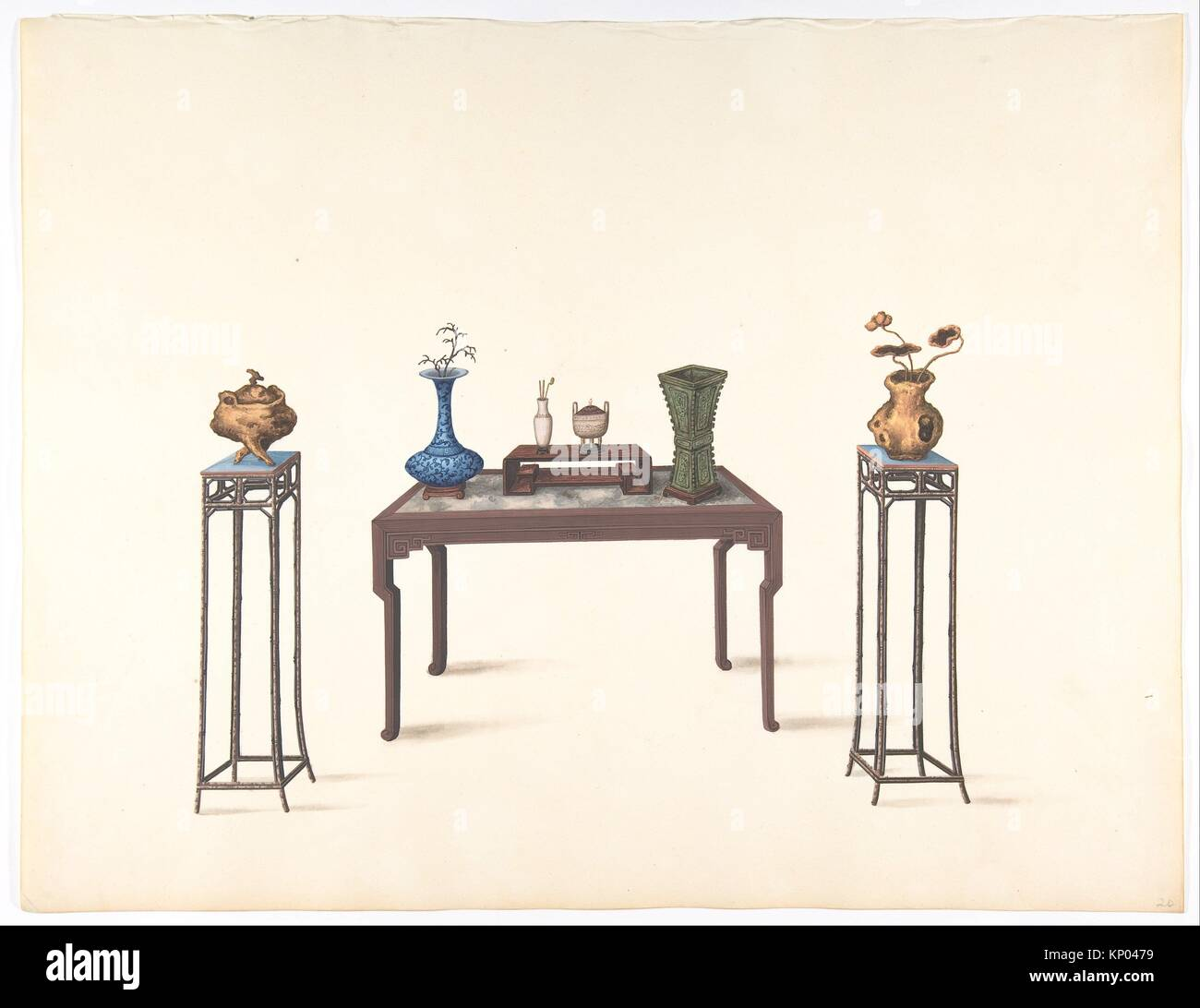 Large Table And Two Small Higher Ones With Vases Artist Anonymous Chinese